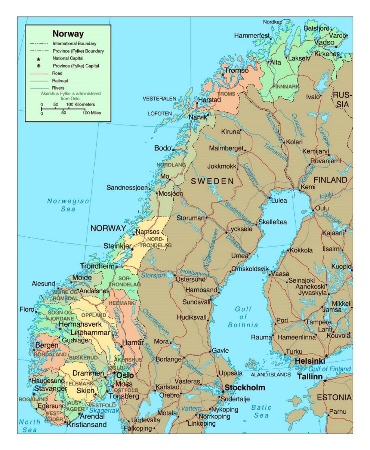 Norvegia Cartina Stradale.Mappa Stradale Di Norvegia Mappa Stradale Di Norvegia Con La Citta Europa Del Nord Europa