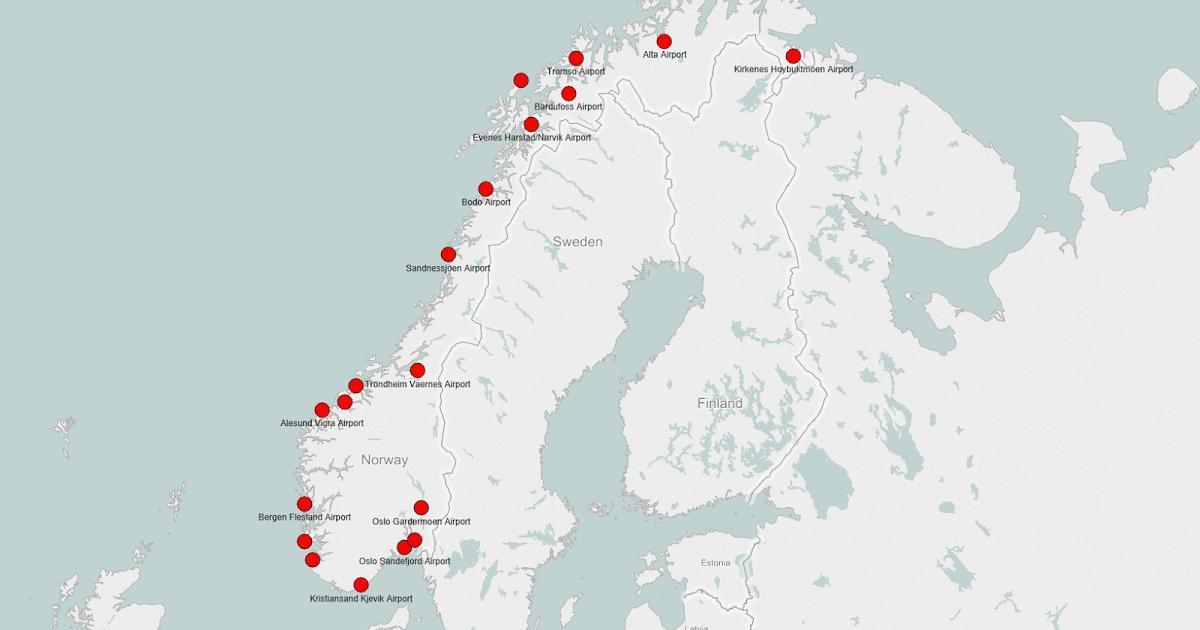 Norvegia Cartina Stradale.Norvegia Mappa Aeroporti Mappa Di Norvegia Aeroporti Nord Europa Europa