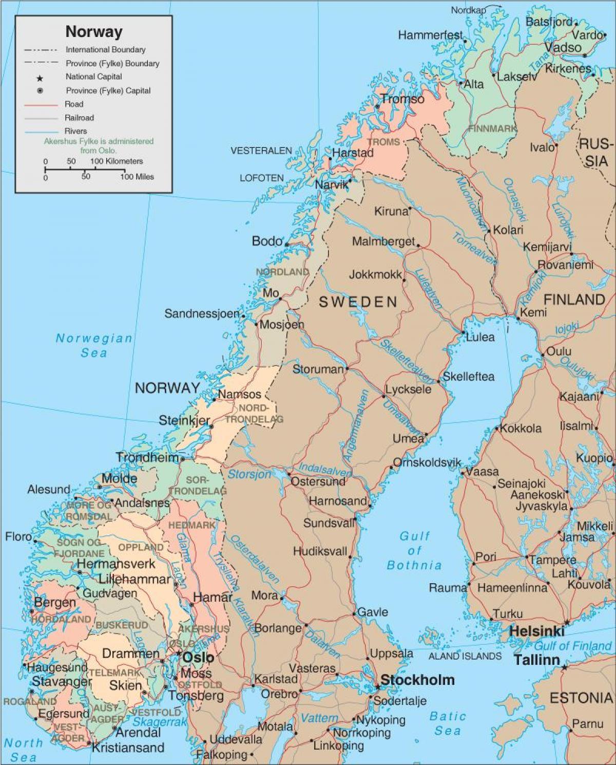 La Norvegia Cartina.Norvegia Mappa Una Mappa Di Norvegia Europa Del Nord Europa